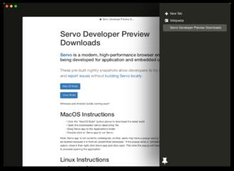 Servo (layout engine) - Image: Servo screenshot