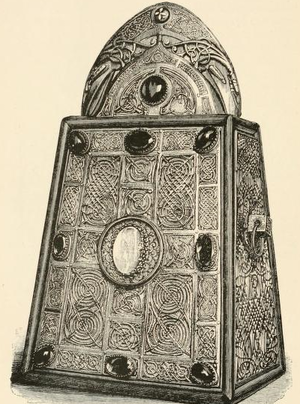 "Domnall Ua Lochlainn - Saint Patrick's Shrine, now in the National Museum of Ireland, Dublin; an inscription on the rear begins ""Pray for Domnall Ua Lochlainn on whose order this bell was made..."", sketch by Margaret Stokes"