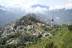 A view of Gangtok from nearby Ganesh Tok point