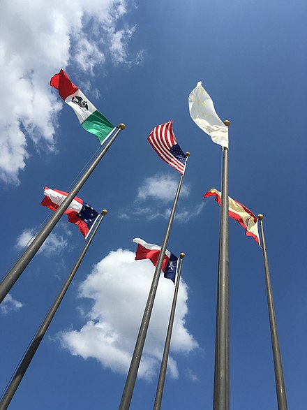 Six different flags that have flown over Texas Six historical flags over texas.jpg