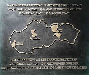 Carpathian Germans - Plate in memory of the expellees on the Hungarian and German museum in Bratislava