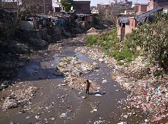 Environmental issues in India - Solid waste adds to water pollution in India, a 2005 image