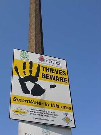 Traceability - Greater Manchester Police SmartWater warning sign