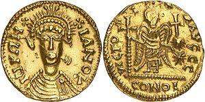 Solidus au nom dégénéré de Justinien Ier