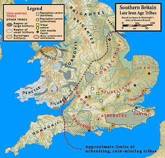 Insular Celts - Map of southern Britain in the 1st century BC