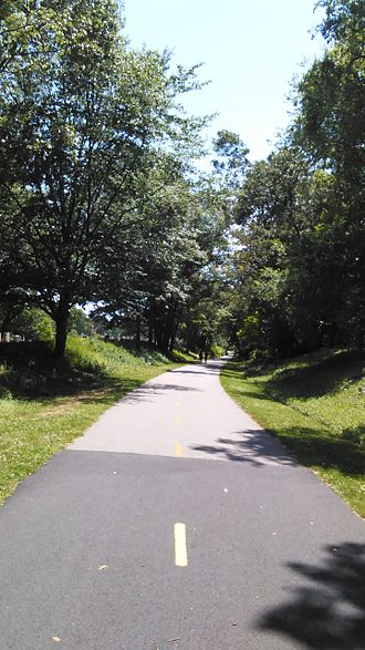 Rail trail - A rail trail in southern Rhode Island