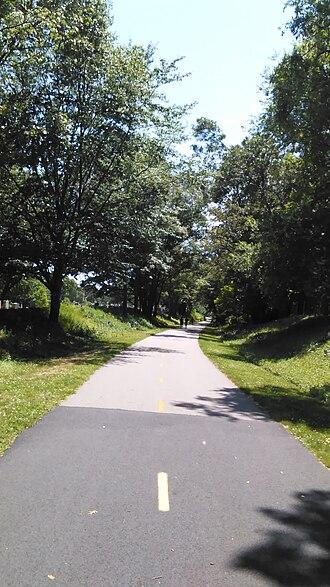 Rail trail - A rail trail in southern Rhode Island
