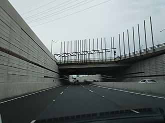 North–South Motorway - Travelling southbound under the Port Road bridge in the lowered motorway, September 2018