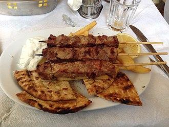 Souvlaki - Souvlaki in Athens, known there as kalamaki