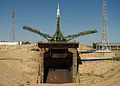Soyuz TMA-05M rocket at the launch pad at the Baikonur Cosmodrome.jpg