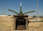 Soyuz TMA-05M rocket at the launch pad at the Baikonur Cosmodrome.jpg