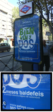 """Street comercial in Spain which shows baidefeis instead of the spanish word gratis (free).Baidefeis comes from """"by the face"""", in spanish: por la cara, meaning """"free""""."""
