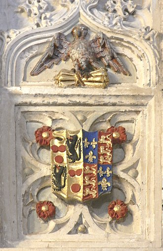 William Courtenay, 1st Earl of Devon - Arms and heraldic badge of William Courtenay, 1st Earl of Devon (1475–1511) sculpted on external wall of Speke Chantry, Exeter Cathedral, Devon, burial place of Sir John Speke (d.1518) of Whitelackington, Somerset. (The Redvers lions have been incorrectly restored as sable instead of azure)