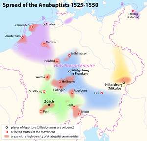 Mennonite - Spread of the early Anabaptists, 1525–1550