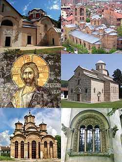 Clockwise from top left: Church of the Patriarchate of Peć, Our Lady of Ljeviš, church of the Visoki Dečani, a window at Visoki Dečani, church of the Gračanica, fresco of Christ at Our Lady of Ljeviš