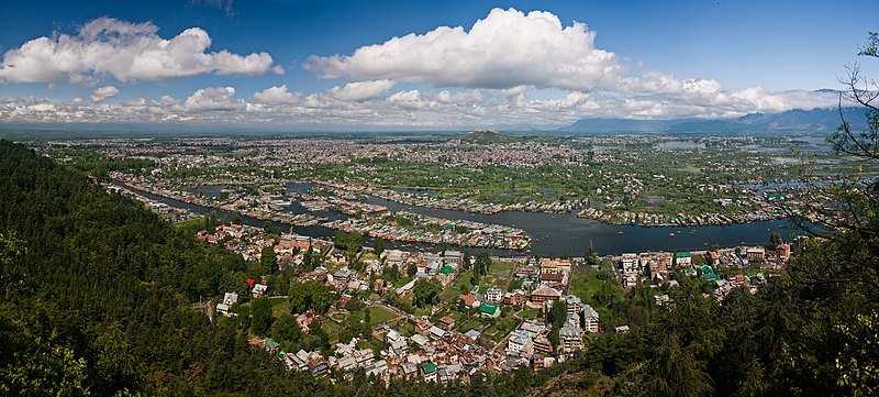 Panoramic view of Dal Lake and the city of Srinagar.