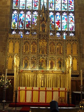 St Mary's Church, Nottingham - The high altar with the reredos by George Frederick Bodley