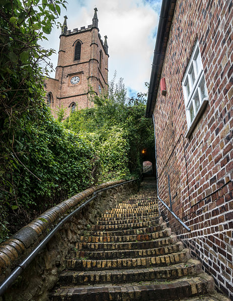 File:Stairs leading up to the Church of St Luke, Ironbridge.jpg