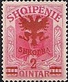 Stamp of Albania - 1920 - Colnect 337767 - Unissued portrait of Prince zu Wied surcharged in red.jpeg