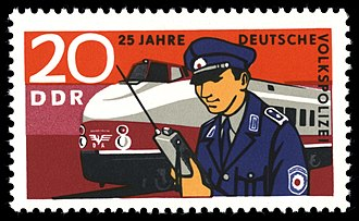 History of the Volkspolizei - Postage stamp commemorating the transport police