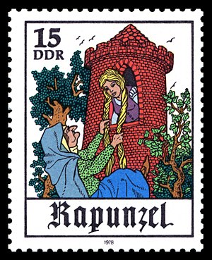 Rapunzel - Illustration of Rapunzel and the Witch on a 1978 East German stamp