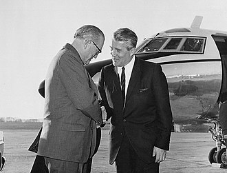 John C. Stennis - Stennis (left) visited the Marshall Space Flight Center in mid-November 1967, where he was greeted at the Redstone Airfield by Center Director Dr. Wernher von Braun.