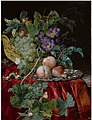 Still life with grapes in a basket, peaches on a silver dish, medlars, two butterflies, a fly and a snail, all on a red velvet cloth over a partially draped ledge .jpg
