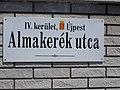 Street sign, Almakerék Street, 2017 Káposztásmegyer.jpg