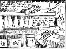 "A comic strip panel. At the top, a middle-aged caucasian male, leaning over the railing to a staircase, says to an African-American male, ""I've looked everywhere for 'Owl-Eye', 'Soda'--do you know where he is?"" The African-American, carrying a broom over his shoulder and descending the staircase, replies, ""No, Boss, Ah ain't laid eyes on him fo the lass half hour""."