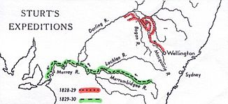 Map with the expedition route of Charles Sturts 1828 (red)