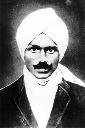 a photograph of Subramanya Bharathi (1882 - 1921)