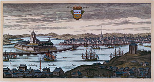 Siege of Viborg (1710) - A 1709 engraving, showing the Schloss (castle) on the left