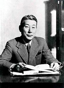 A photographic portrait of Chiune Sugihara.