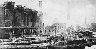 Coatbridge - Summerlee blast furnaces in start of the 20th century Coatbridge. The present day Summerlee Heritage Park is sited here.