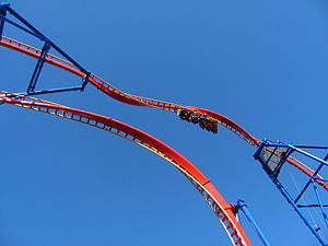 Superman: Ultimate Flight (Six Flags Discovery Kingdom) - A view upwards at Superman: Ultimate Flight's heartline roll