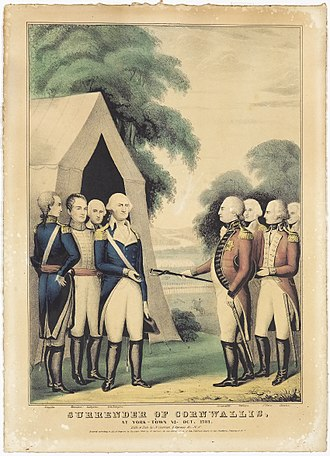 Siege of Yorktown - Surrender of Cornwallis. At York-town, VA Oct. 1781, Nathaniel Currier.  D'Amour Museum of Fine Arts