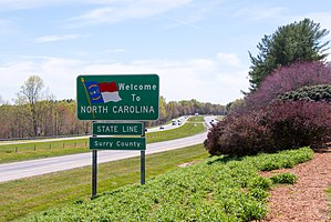Interstate 77 in North Carolina - Virginia-North Carolina state line on I-77