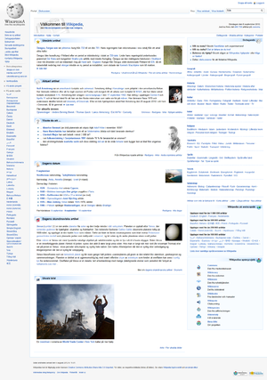 Swedish Wikipedia - Image: Swedish Wikipedia Mainpage Screenshot 9th September 2012