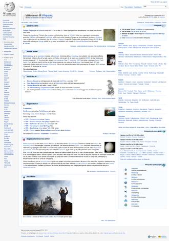 Swedish Wikipedia - Image: Swedish Wikipedia Mainpage Screenshot 9th September 2012