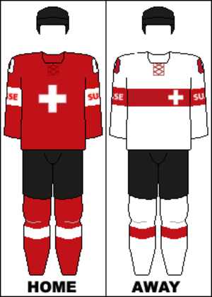 Switzerland men's national ice hockey team - Image: Switzerland national hockey team jerseys 2014
