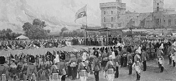 Painting of the presentation of colours at Windsor Castle in 1908