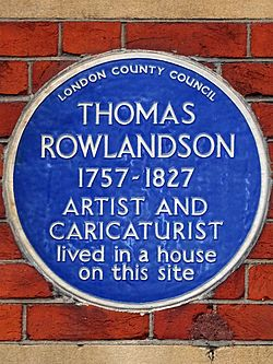Thomas rowlandson 1757 1827 artist and caricaturist lived in a house on this site