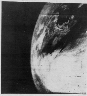 Weather satellite - The first television image of Earth from space from the TIROS-1 weather satellite in 1960