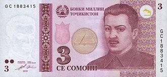 Shirinsho Shotemur - A 2010 three-somoni bill from Tajikistan, carrying a portrait of Shirinsho Shotemur