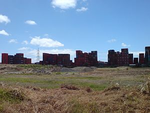 """Southdown, New Zealand - The containers stacked in the primarily industrial Southdown can sometimes evoke a """"table mountains"""" horizon."""