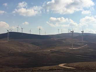 The 117 MW Tafila Wind Farm in southern Jordan is the first and largest onshore wind farm in the Middle East. Tafila Wind Farm 2.jpg