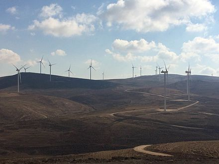 The 117 MW Tafila Wind Farm in southern Jordan is the first and largest onshore wind farm in the Middle East Tafila Wind Farm 2.jpg