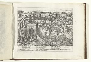 Taking of Diest (1580) - An engraving of the taking of Diest by Frans Hogenberg, 1580–1582