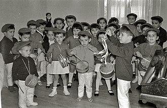 Tamborrada - Children's tamborrada practice in 1962