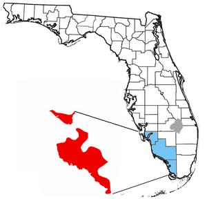 Tamiami Formation - Location of Taniami Formation in Florida.